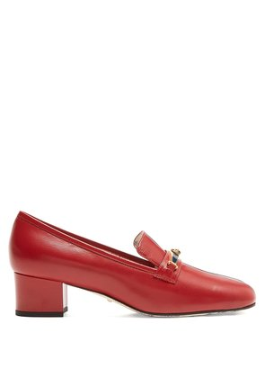 Centre-stripe leather loafers
