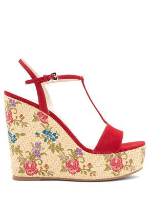 Floral-embroidered suede wedge sandals