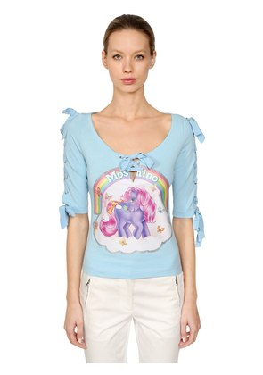 LITTLE PONY LACE-UP COTTON T-SHIRT