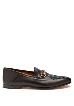 Brixton wolf-appliqué leather loafers