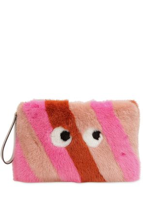 LARGE FURRY MINK FUR CLUTCH W/ EYES