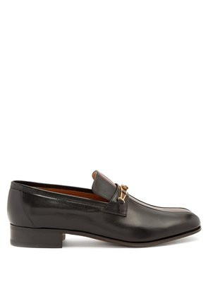 Contrast panel embellished leather penny loafers