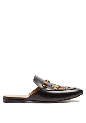 Princetown tiger-appliqué leather backless loafers