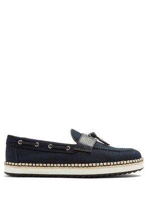 Leather-trimmed canvas loafers