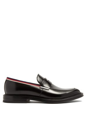 Beyond Web-striped embellished leather loafers