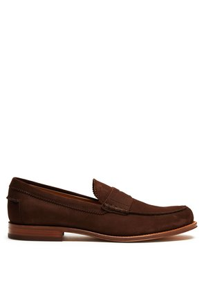 Round-toe nubuck penny loafers