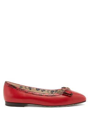 Eva bow-embellished leather ballet flats