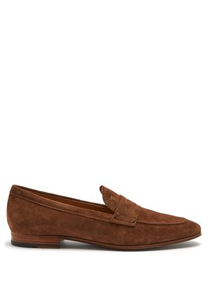 Round-toe suede penny loafers