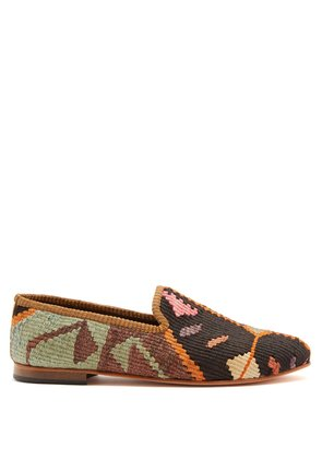 Patterned woven Kilim and leather loafers