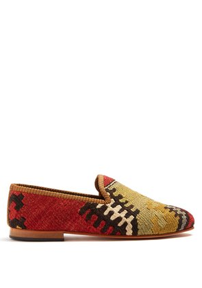 Patterned-woven Kilim and leather loafers