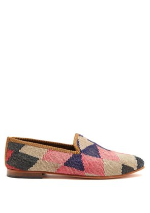 Diamond-patterned woven Kilim and leather loafers