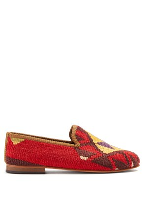 Tribal-patterned woven Kilim and leather loafers