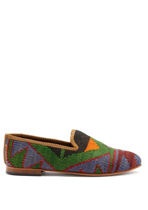 Aztec-pattered woven Kilim and leather loafers
