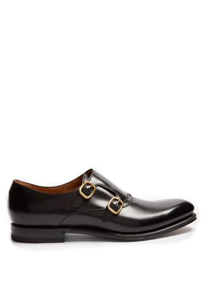 Signora double monk-strap leather shoes
