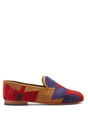 Zigzag patterned woven Kilim and leather loafers