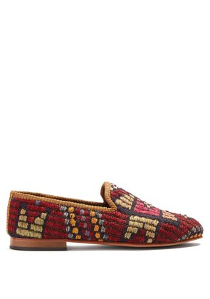 Geometric-patterned woven Kilim loafers