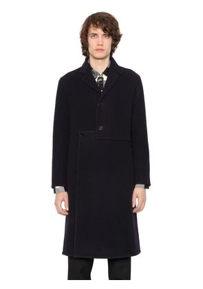 ASYMMETRICAL FRONT WOOL & CASHMERE COAT
