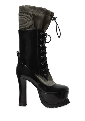 120MM BRUSHED LEATHER & NYLON BOOTS
