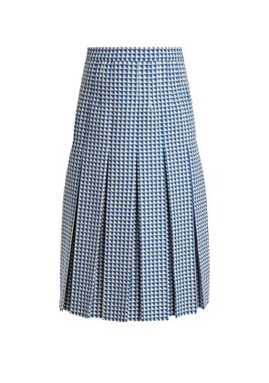 Pleated wool-blend tweed skirt