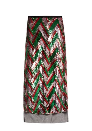 Sequin-embellished chevron midi skirt