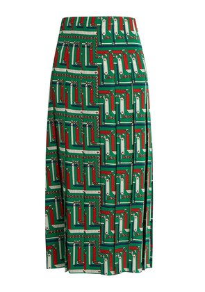 Chain-print pleated silk skirt
