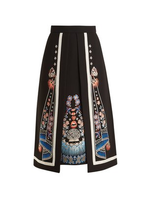 Floral-embroidered A-line crepe skirt