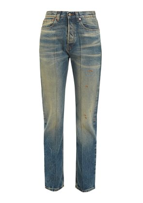 Butterfly-embroidered straight-leg jeans