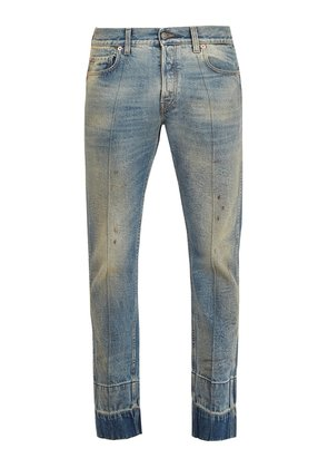 Stain-effect tapered-leg jeans