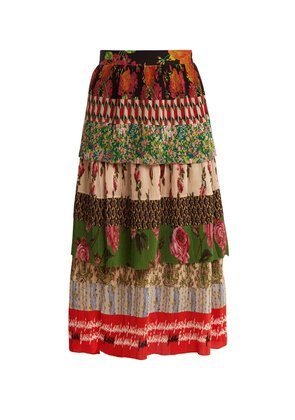 Tiered patchwork-print silk-plissé midi skirt