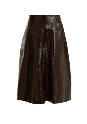 Ethic coated-cotton A-line skirt