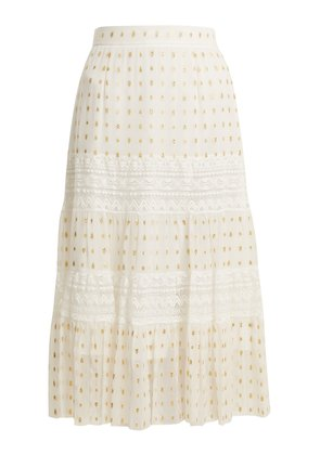 Wondering lace-insert fil coupé chiffon midi skirt