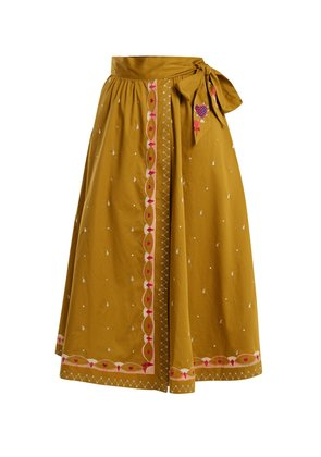 Divine border-embroidered cotton wrap skirt