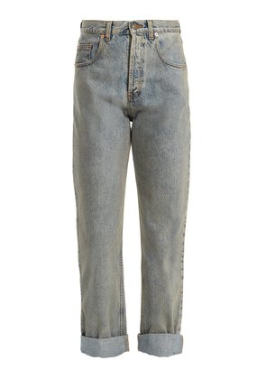 Tiger head-embroidered straight-leg jeans