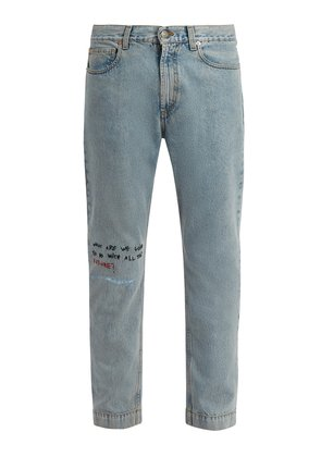 Mid-rise embroidered skinny-leg jeans