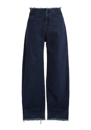 Wide-leg frayed-trim jeans