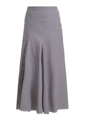 Smith striped side-button midi skirt