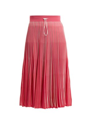 High-rise pleated jersey midi skirt