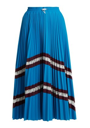 High-rise chevron-striped pleated jersey skirt