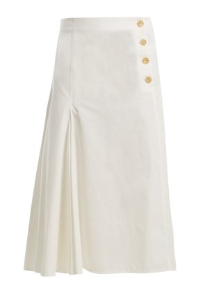 Side-button cotton-chino midi skirt