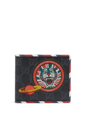 GG Supreme tiger and planet-patch wallet