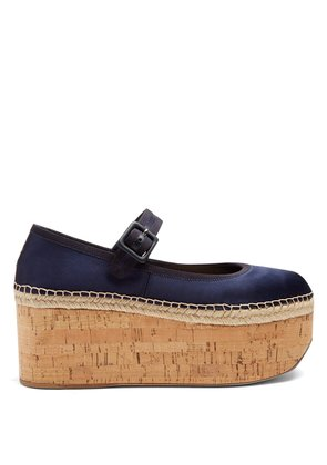 Mary-Jane satin flatform pumps