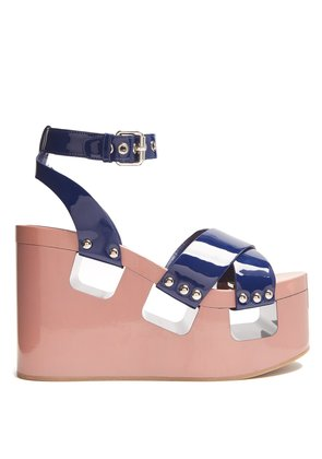 Patent-leather wedge sandals