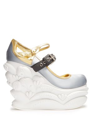 Embossed satin ballet wedge pumps