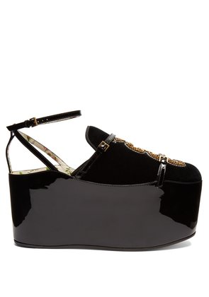 Hannelore detachable-platform velvet pumps