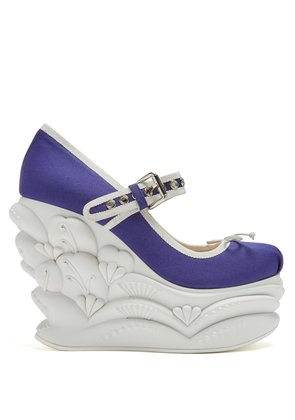 Embossed faille ballet wedge pumps