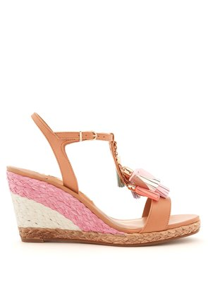 Lucita tassel-embellished leather wedge sandals