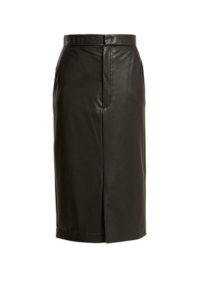 Keller faux-leather midi pencil skirt