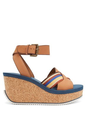 Leather cork-sole platform sandals