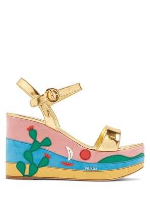 Cactus appliqué suede and leather wedge sandals