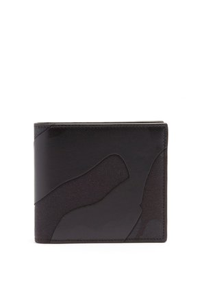 Camouflage leather and canvas wallet
